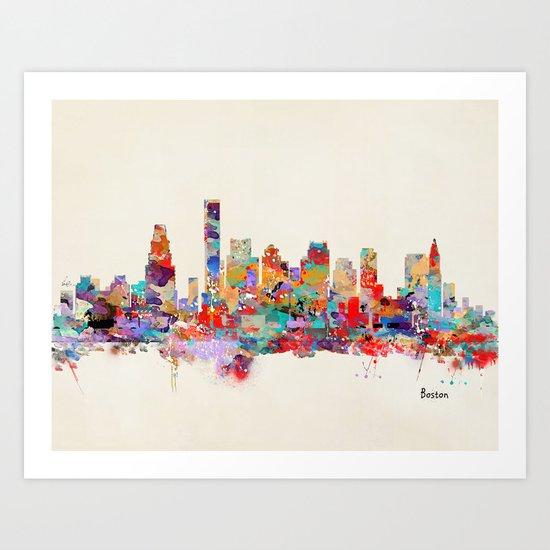 Boston city watercolor Art Print