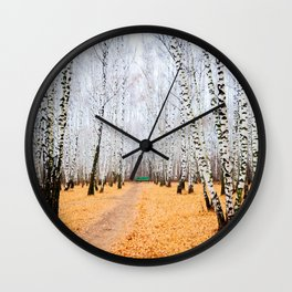 Green Bench And Fallen Leaves. Late Autumn In The Birch Grove Wall Clock