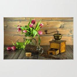 Coffee Grinder plus Jar of Beans and Tulips Rug