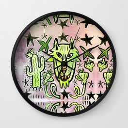 Desert Night Wolf Wall Clock