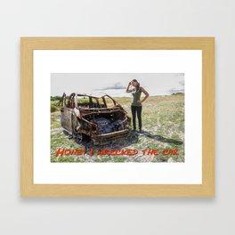 Honey I wrecked the car – humour Framed Art Print