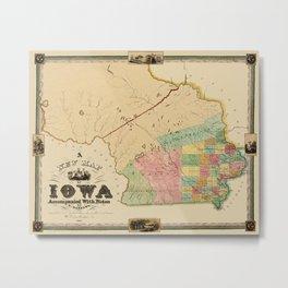 Map Of Iowa 1845 Metal Print