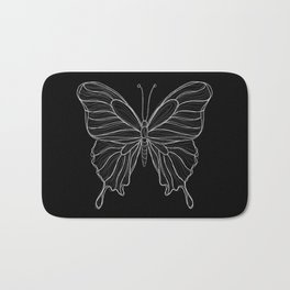 Sketchy Butterfly | Sketchy Lines | Line art | Black and White Bath Mat