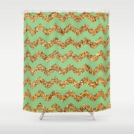 Granny Smith Apple Gold Glitter Chevron Pattern Shower Curtain