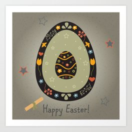 Festive Easter Egg with Cute Egg inside Art Print