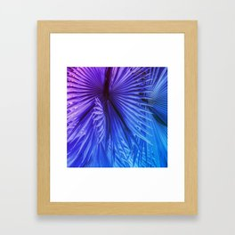 Fantasy Tropical Leaves in Purple and Blue Framed Art Print