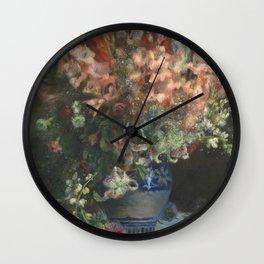Gladioli in a Vase by Renoir Wall Clock