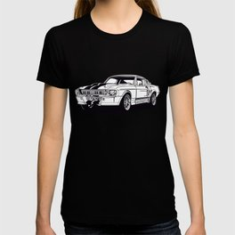 Classic american muscle car icon shilouette vector graphic T-shirt