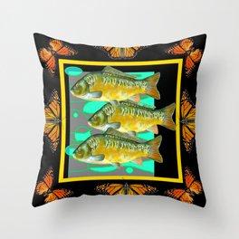 MODERN  MONARCH BUTTERFLIES FISH BLACK  AQUATIC  COLLAGE Throw Pillow