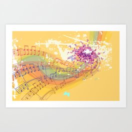 Retro Rainbow and Music Notes Exploding on a Yellow Background Art Print
