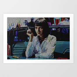 Text Portrait of Mia Wallace with full script of Pulp Fiction Art Print