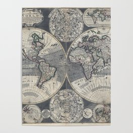 World Map 1702 Poster