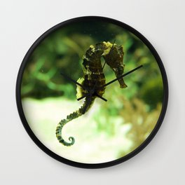 Tropical Seahorse with Coral Wall Clock