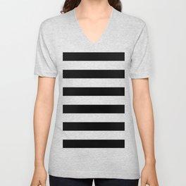 Simply Stripes in Midnight Black Unisex V-Neck