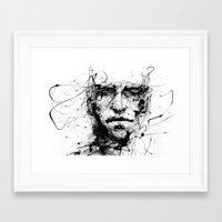 michael jordan Framed Art Prints featuring lines hold the memories by agnes-cecile