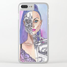 Terminator Robot Android Femme Clear iPhone Case