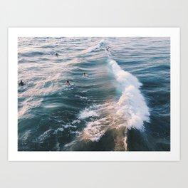Surf at Sunset Art Print