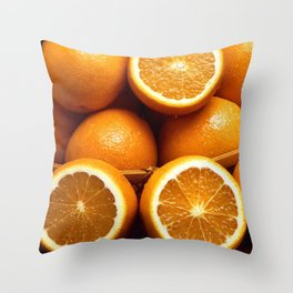 Oranges Piled Up Throw Pillow