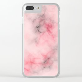 Pink and gray marble Clear iPhone Case