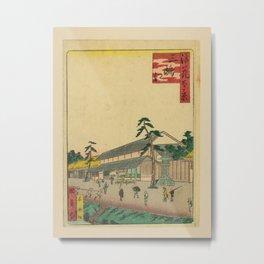 Utagawa Yoshitaki - 100 Views of Naniwa: By the Mitaka River (1880s) Metal Print