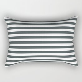 PPG Night Watch Pewter Green & White Uniform Stripes Fat Horizontal Line Pattern Rectangular Pillow
