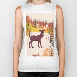 Stag in the wilderness vintage illustration Biker Tank