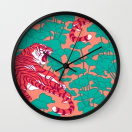 Scarlet tigers on lotus flower field. Wall Clock