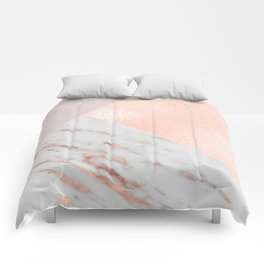 Blush pink layers of rose gold and marble Comforters