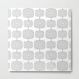 Mid Century Modern Atomic Rings Pattern Gray 3 Metal Print