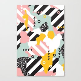 Spliced Geometric Memphis Pattern Geo Stripes Canvas Print