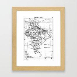 Vintage Map of India (1823) BW Framed Art Print