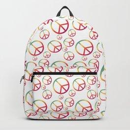 Rainbow Peace Sign Symbols Pattern Backpack
