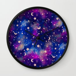 Zodiac - Watercolor Dark Wall Clock