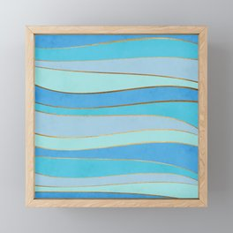 Waves Pattern - Golden Glitter Framed Mini Art Print