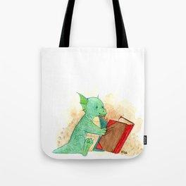 Reading baby dragon Tote Bag