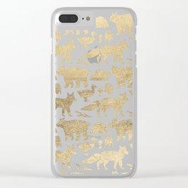 Elegant black faux gold cute wolfs bears ducks pattern Clear iPhone Case