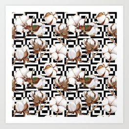 Cotton Flower Pattern 10 Art Print