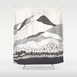 Geodesic Mountain Shower Curtain