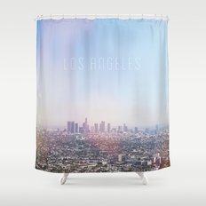 Los Angeles Skyline Typography  Shower Curtain