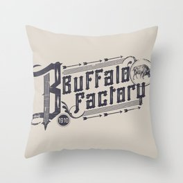 BUFFALO FACTORY  Vintage Typography Throw Pillow