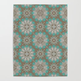 Brown turquoise bling . Poster