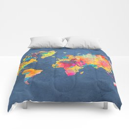 world map blue 2061 #map #worldmap Comforters