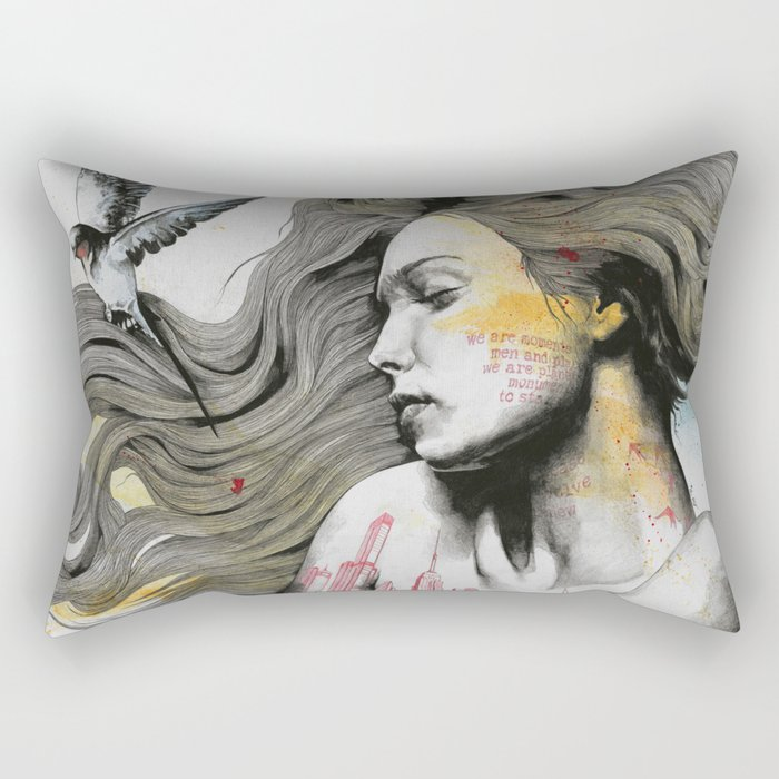 Monument (long hair girl with bird and skyline tattoo) Rectangular Pillow