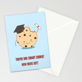 Funny Graduation Illustration. You're One Smart Cookie! Now Move Out! Stationery Cards