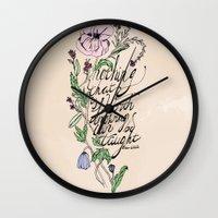 oscar wilde Wall Clocks featuring Oscar Wilde Quote  by TLG Creative