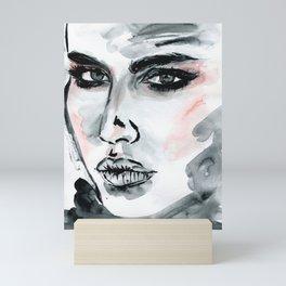 Original watercolor portrait, girl face black and white watercolor illustration, fashion art print. Mini Art Print