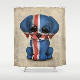 Cute Puppy Dog with flag of Iceland Shower Curtain