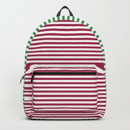 Christmas Minimal Stripes Red Green White Backpack