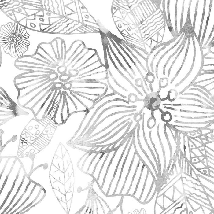 Hand painted black white watercolor tribal floral Leggings