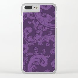 Retro Chic Swirl Royal Lilac Clear iPhone Case
